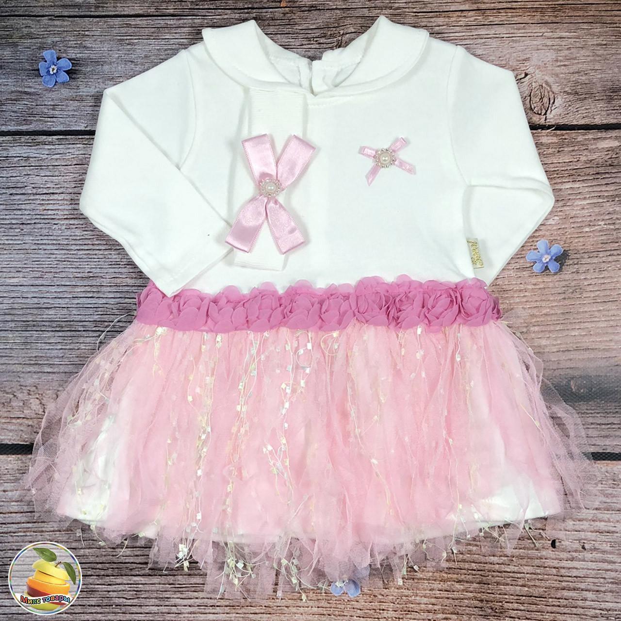 Платье для маленькой девочки+ Повязка Размеры: 68 и 74 см (8849)