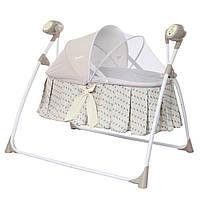 Люлька-качалка для детей до 1года с противомоскитной сеткой от сети и батареек CARRELLO Dolce CRL-7501
