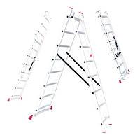 Лестница алюминиевая 2-х секционная универсальная раскладная 2x8ступ. 3.69м Intertool LT-0208