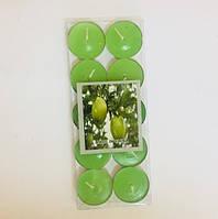 Набор цветных свечей таблетка 10 шт (чайные, плавающие) зеленый