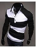 Поло с длинным рукавом (Черно-белый), фото 4