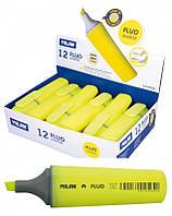 """Текстовыделитель флуорисцентный 80036 """"Fluo"""" желтый, клиновидный кончик 1-4,8мм Milan уп12"""