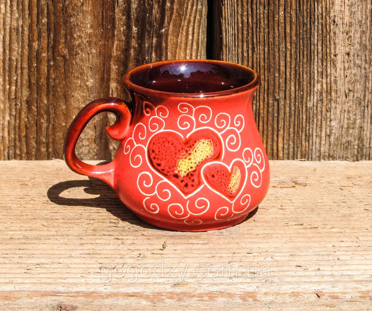 Філіжанка декор Серце рожева