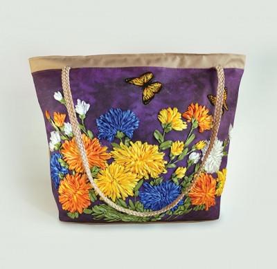 Набор для творчества My creative bag Сумка, вышитая лентами и бисером Хризантемы