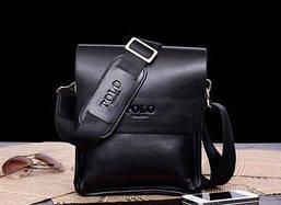 🔥 Мужская сумка через плечо POLO кожаная, черного цвета с тиснением