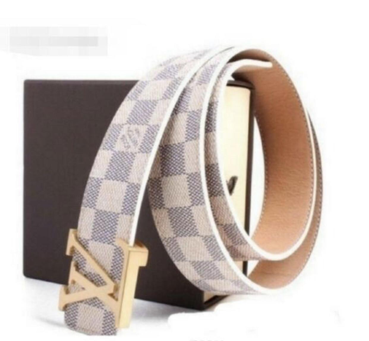 Брендовый Ремень Louis Vuitton White (реплика луи витон)