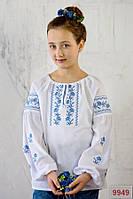 """Нарядная вышиванка для девочки """"Кокетка"""" с голубой вышивкой длинный рукав р 116-134"""