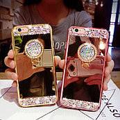 Чехол силиконовый с камнями  для Iphone 7 plus/8 plus с кольцом-подставкой золотой
