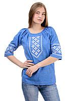 """Женская рубашка-вышиванка """"Элис"""" р-р 48,52  джинс (012126) вишиванка українська,ткань лен-габардин"""