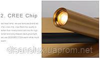 Світильник настінний WL-008 LED 2W 2700К 230В USB латунь, фото 4