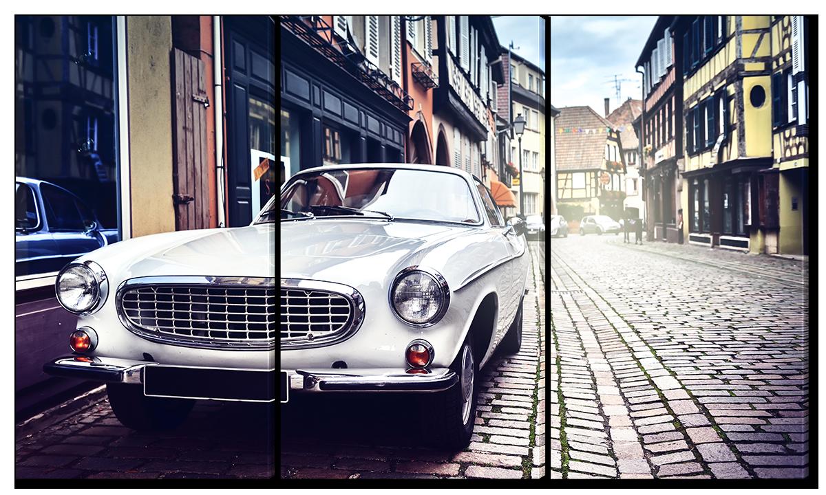 Модульная картина Interno Эко кожа Белый автомобиль 144x82см(A1631XL)