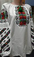"""Белая  блузка вышиванка для девочки """"Зоряна"""" с красной вышивкой длинный рукав р 140-158"""
