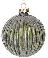 """Новогодний шар стекло """"Снежные забавы"""" елочный шар , 8 см, цвет - золотисто-зеленый, набор 6 шт"""