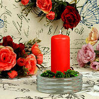 Свеча конусная пеньковая красная h 9,5 см, d 4,5 см