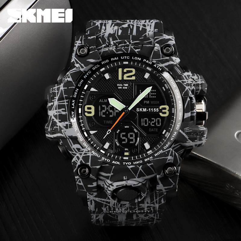 Skmei 1155 B hamlet  черные с серым мужские спортивные часы