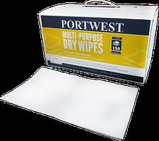 Сухие салфетки для универсального применения (150 салфеток) Portwest IW90, Белый