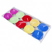 Набор цветных свечей таблетка 10 шт (чайные, плавающие), фото 1