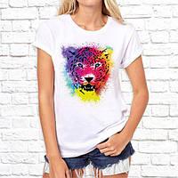 Женская футболка Push IT с принтом Леопард радужный