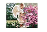 Картина по номерам на холсте Ангелочек и птички, KHO1048