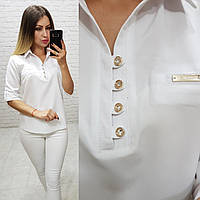 Блузка/блуза - рубашка с пуговками на груди, модель 828 , цвет белый