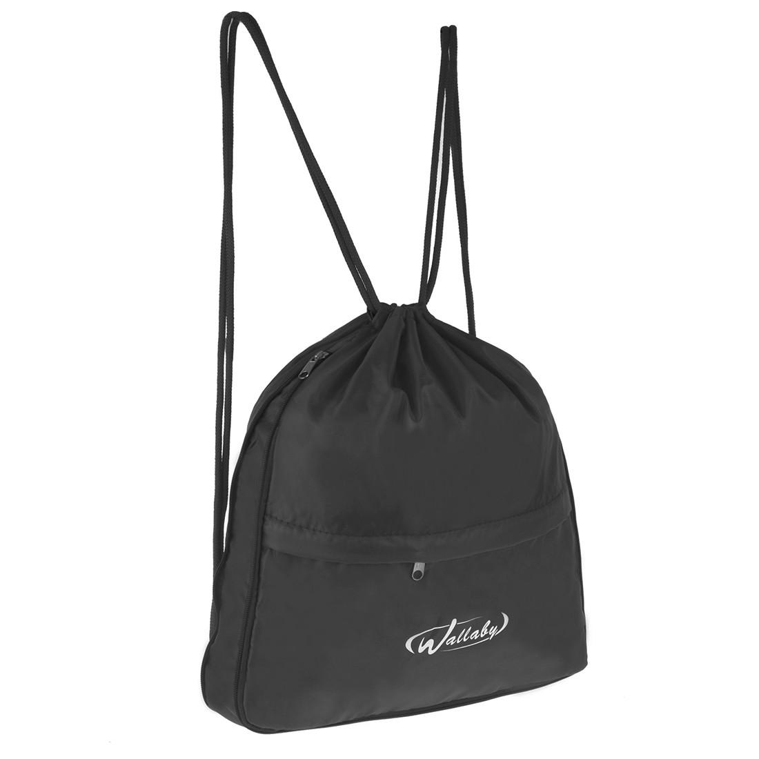 Рюкзак-котомка Wallaby 35х38х1 чёрный для обуви и сменки ткань нейлон  в 28271ч