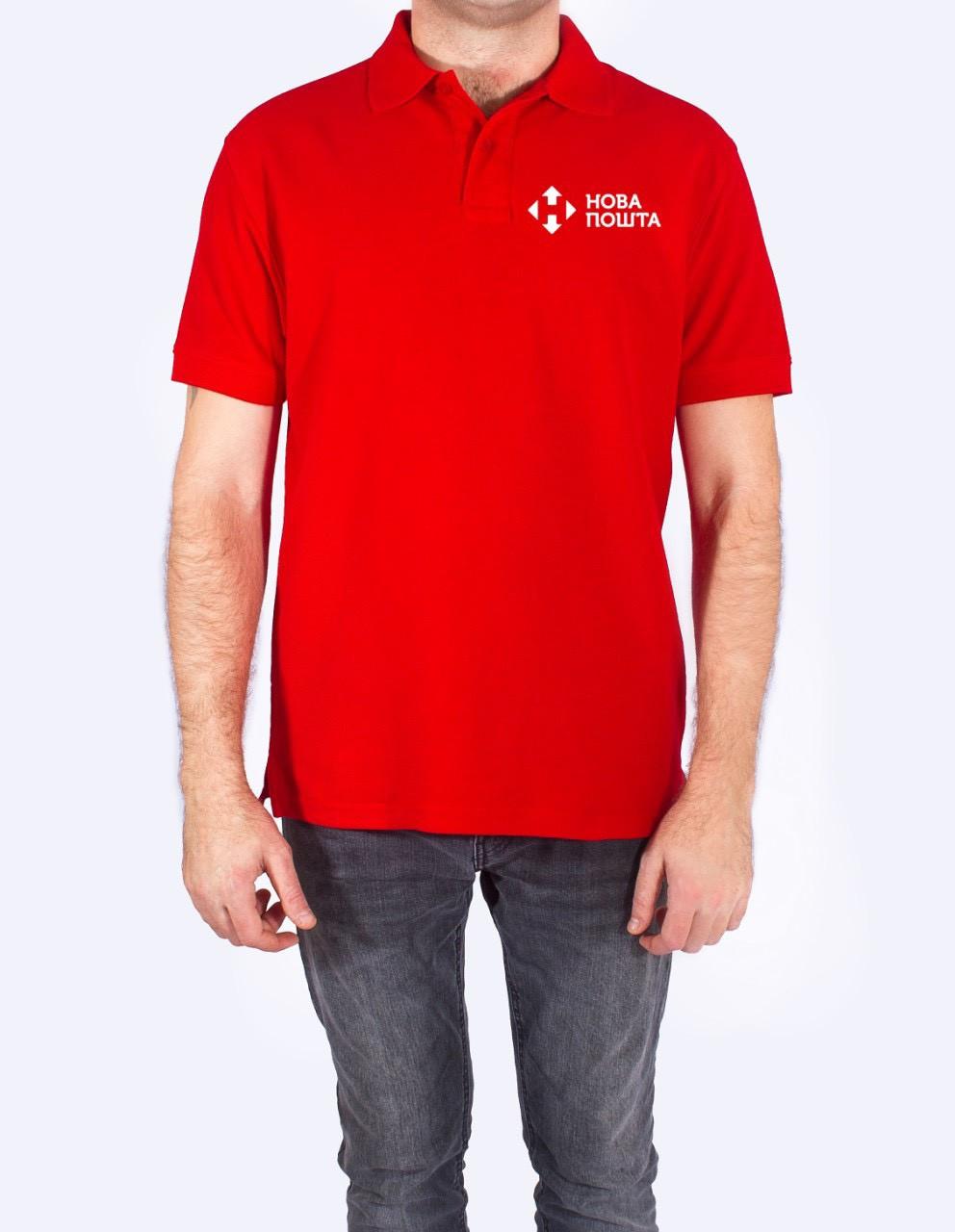 Мужская футболка-поло JHK POLO REGULAR MAN красная с логотипом Новая Почта
