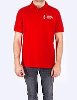 Поло - футболка красная с логотипом Новая Почта, JHK T-shir, однотонная, промо одежда, от XS до XXL