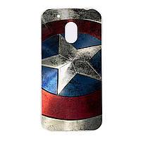 Чехол с рисунком Printed Silicone для Motorola Moto G4 Play XT1602 Щит Капитана Америки