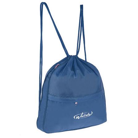 Рюкзак-торбинка Wallaby тканина синій нейлон 35х38х10 для взуття і сменки в 28272син, фото 2