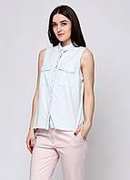 (Уценка) Рубашка женская Bershka цвет бледно-голубой размер М арт (УЦ)5757//019/481