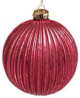Новогодний шар стекло, елочный шар , рельефной формы с декором из глиттера, цвет - винный, набор 6 шт