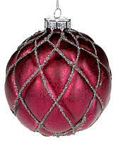 """Новогодний шар стекло """"Ромб"""", елочный шар, рельефной формы с декором из глиттера, цвет - аметист, набор 6 шт"""