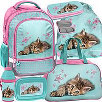 Школьный рюкзак с кошкой PASO, комплект 6 шт.