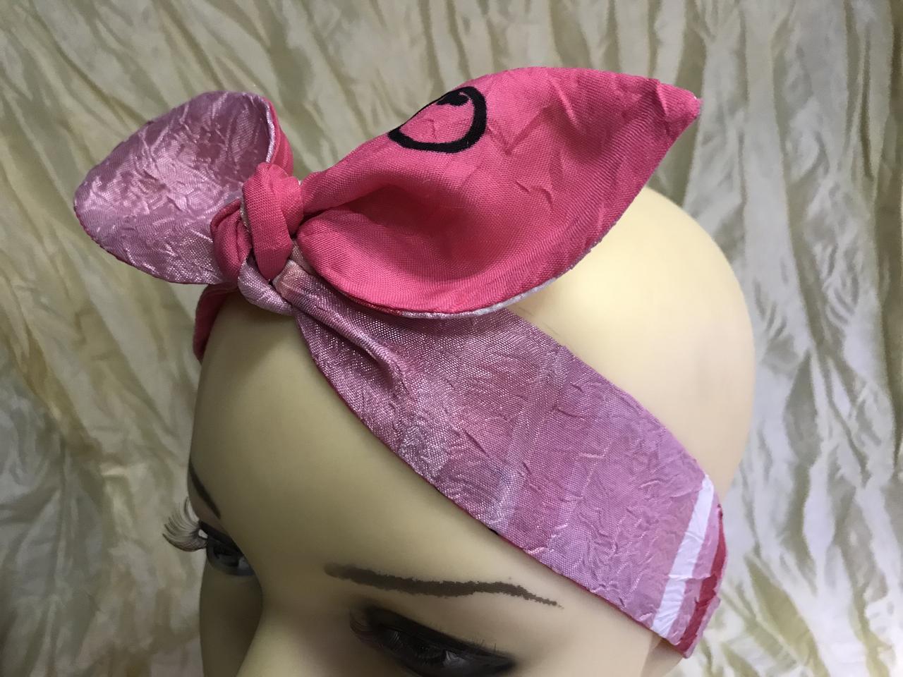 Розовая двухсторонняя повязка Солоха на резинке с бантом