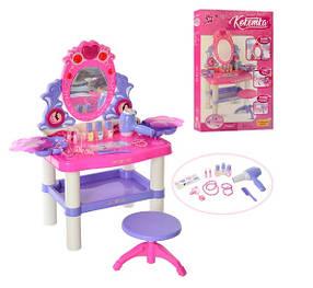 Детское музыкальное трюмо M 0395 для принцесс, со стульчиком, фен жужжит и дует. Столик сверкает и поет