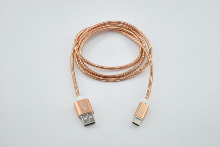 Кабель 4you DL-003 Type-C - USB (Метал. пружина, Premium) 1м Pink