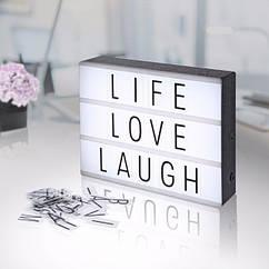 Интерьерный Memos лайтбокс с буквами (А4 102 буквы) светильник ночник