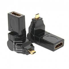Адаптер Ewell micro HDMI - HDMI M/F, поворотный, 360°(EW250)