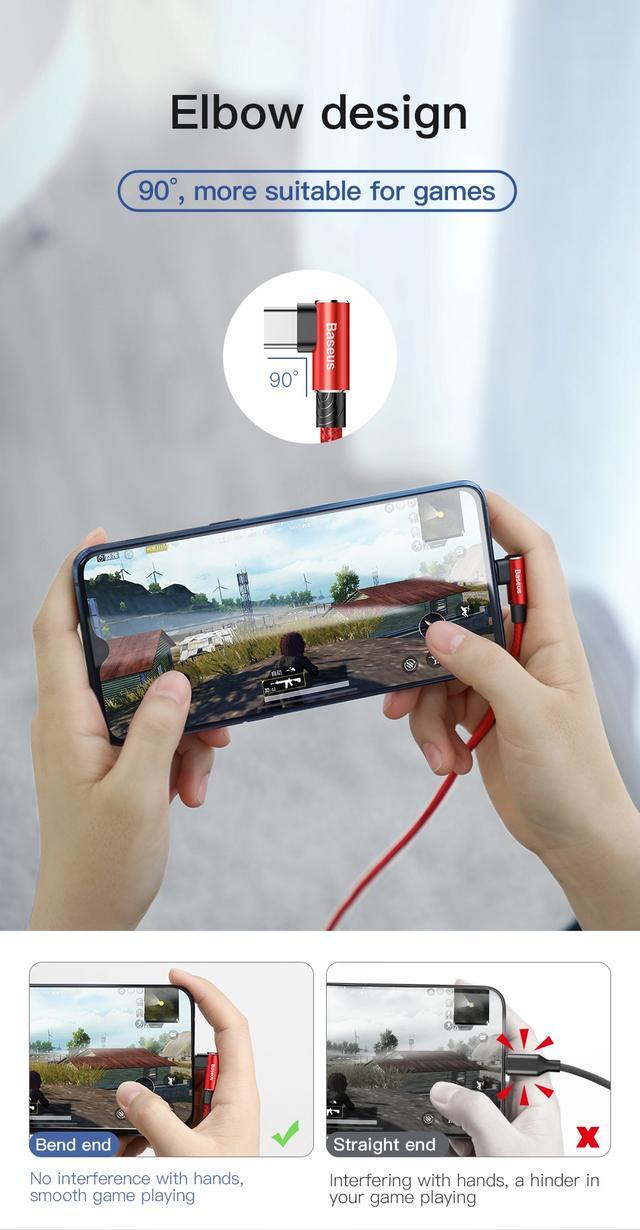 Кабель USB Type-C Baseus MVP с коннектором 90° для быстрой зарядки передачи данных CATFS-B 5A 1м Черный Фиолетовый Красный