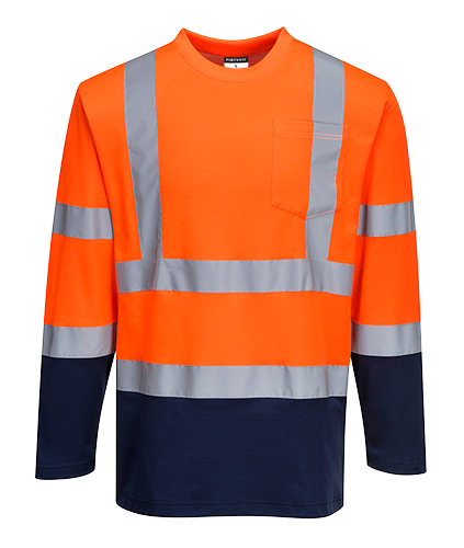 Двухцветная хлопковая футболка-поло с длинными рукавами S280