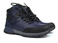 Зимние синие кожаные ботинки на овчине мужская обувь Rosso Avangard Lomerback 2 Blu Leather