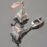 Серьги серебряные 925 пробы с золотыми вставками арт. 312с