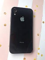 Силиконовый глянцевый чехол с логотипом для  Apple iPhone XR Чёрный