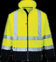 Светоотражающая контрастная куртка из софтшелла (3 сл) S425