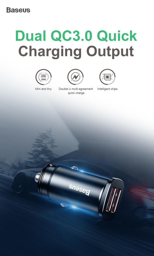 Автомобильное зарядное устройство BASEUS B5-C15Q Dual QC3.0 Car Charger 30W Черное Два USB-порта