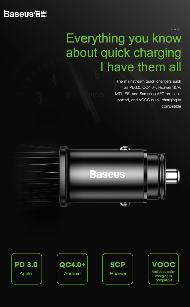 Автомобильное зарядное устройство BASEUS B5-C15C PPC Car Charger 30W PD QC 4.0 Черное Type-C + USB