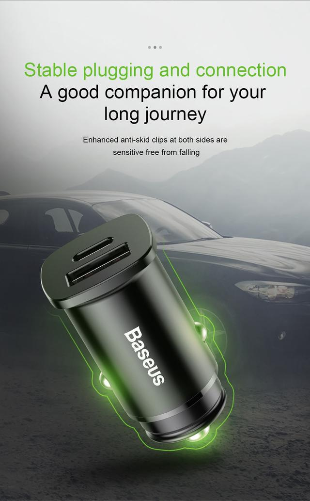 Автомобильное зарядное устройство BASEUS B5-C15C PPC Car Charger 30W PD QC 4.0 Черное, Type-C + USB