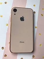 Силиконовый глянцевый чехол с логотипом для  Apple iPhone XR Бежевый