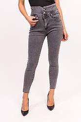Женские джинсы с высокой талией - серый цвет, L