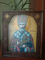 Икона в деревянном резном киоте (иконы на выбор заказчика) 26*22cm